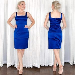 Blue Fitted Cocktail Party Dress